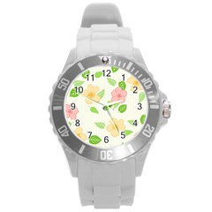 Flowers Leaf Stripe Pattern Round Plastic Sport Watch (l) by Mariart