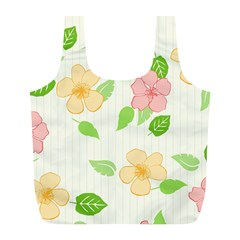 Flowers Leaf Stripe Pattern Full Print Recycle Bag (l) by Mariart