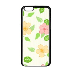 Flowers Leaf Stripe Pattern Apple Iphone 6/6s Black Enamel Case by Mariart