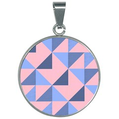 Fabric Geometric Cotton Texture 30mm Round Necklace by Jojostore