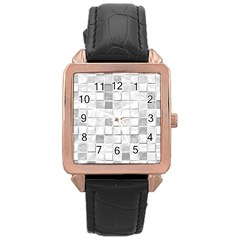 Diamonds Rectangle Rose Gold Leather Watch