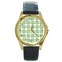 Flower Flourish Round Gold Metal Watch by Jojostore