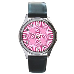 Hypnotic Psychedelic Abstract Ray Round Metal Watch