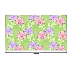 Lily Flowers Green Plant Business Card Holder