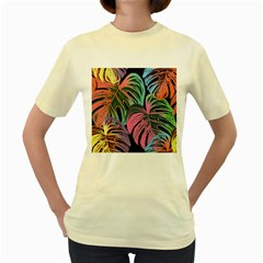 Leaves Tropical Jungle Pattern Women s Yellow T Shirt