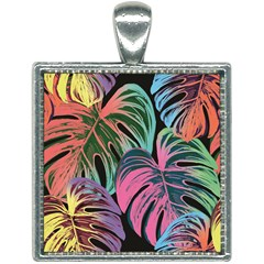 Leaves Tropical Jungle Pattern Square Necklace
