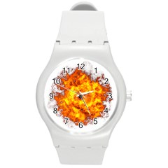 Fire Transparent Round Plastic Sport Watch (m) by AnjaniArt