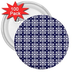 Flower Decorative 3  Buttons (100 Pack)  by AnjaniArt