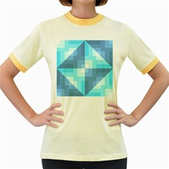Fabric Cotton Aqua Blue Patchwork Women s Fitted Ringer T-shirt by AnjaniArt