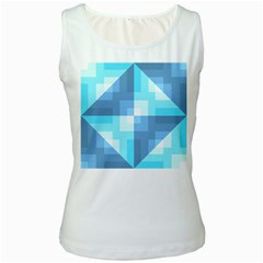 Fabric Cotton Aqua Blue Patchwork Women s White Tank Top