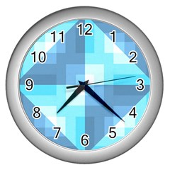 Fabric Cotton Aqua Blue Patchwork Wall Clock (silver) by AnjaniArt