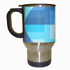 Fabric Cotton Aqua Blue Patchwork Travel Mugs (white) by AnjaniArt