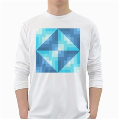 Fabric Cotton Aqua Blue Patchwork Long Sleeve T-shirt by AnjaniArt