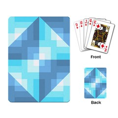 Fabric Cotton Aqua Blue Patchwork Playing Cards Single Design by AnjaniArt