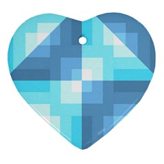 Fabric Cotton Aqua Blue Patchwork Heart Ornament (two Sides) by AnjaniArt