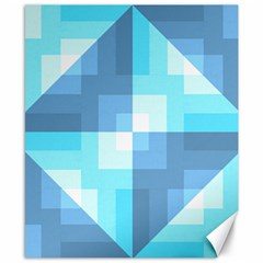 Fabric Cotton Aqua Blue Patchwork Canvas 8  X 10  by AnjaniArt
