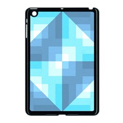 Fabric Cotton Aqua Blue Patchwork Apple Ipad Mini Case (black)