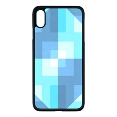 Fabric Cotton Aqua Blue Patchwork Apple Iphone Xs Max Seamless Case (black) by AnjaniArt