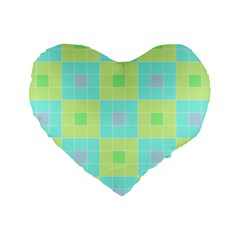 Grid Geometric Pattern Colorful Standard 16  Premium Heart Shape Cushions