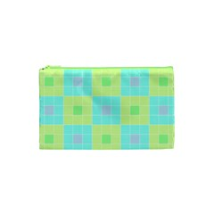 Grid Geometric Pattern Colorful Cosmetic Bag (xs)
