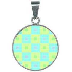 Grid Geometric Pattern Colorful 25mm Round Necklace