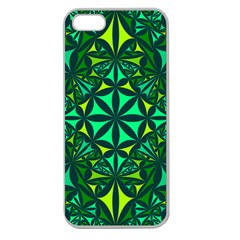 Green Triangle Pattern Kaleidoscope Apple Seamless Iphone 5 Case (clear) by AnjaniArt