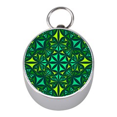 Green Triangle Pattern Kaleidoscope Mini Silver Compasses by AnjaniArt