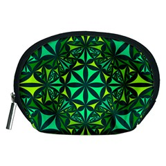 Green Triangle Pattern Kaleidoscope Accessory Pouch (medium)