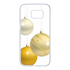 Hanging Christmas Balls Samsung Galaxy S7 Edge White Seamless Case