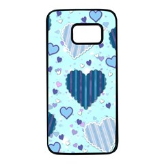 Hearts Pattern Samsung Galaxy S7 Black Seamless Case by AnjaniArt