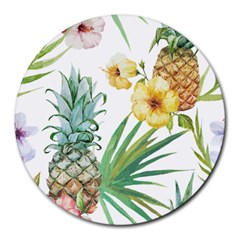 Hawaii Pineapple Wallpaper Tropical Plants Round Mousepads by AnjaniArt