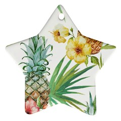 Hawaii Pineapple Wallpaper Tropical Plants Star Ornament (two Sides)