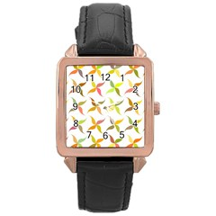 Leaf Autumn Background Rose Gold Leather Watch