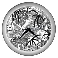 Leaves Nature Picture Wall Clock (silver) by AnjaniArt