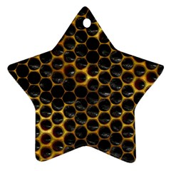 Hexagon Honeycomb Grid Pattern Star Ornament (two Sides)