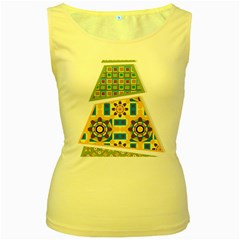 Hristmas Tree Triangle Women s Yellow Tank Top