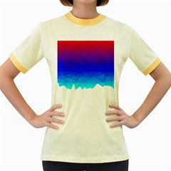 Gradient Red Blue Landfill Women s Fitted Ringer T Shirt by Jojostore