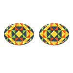 Geometric Color Cufflinks (Oval) Front(Pair)