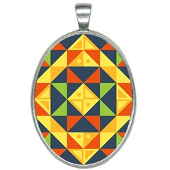 Geometric Color Oval Necklace by Jojostore