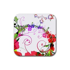 Flowers Floral Rubber Coaster (square)  by Jojostore