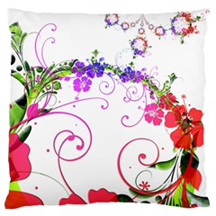 Flowers Floral Large Flano Cushion Case (one Side)