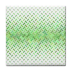Green Pattern Curved Puzzle Tile Coasters