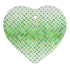Green Pattern Curved Puzzle Ornament (heart) by Jojostore