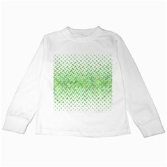 Green Pattern Curved Puzzle Kids Long Sleeve T Shirts by Jojostore