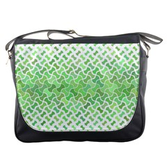 Green Pattern Curved Puzzle Messenger Bag