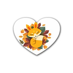 Fox Leaves Heart Coaster (4 Pack)