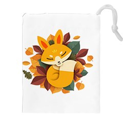 Fox Leaves Drawstring Pouch (xxl) by Jojostore