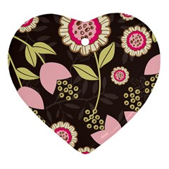 Flower Wallpaper Floral Heart Ornament (two Sides) by Jojostore
