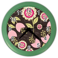 Flower Wallpaper Floral Color Wall Clock