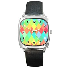 Low Poly Triangles Square Metal Watch